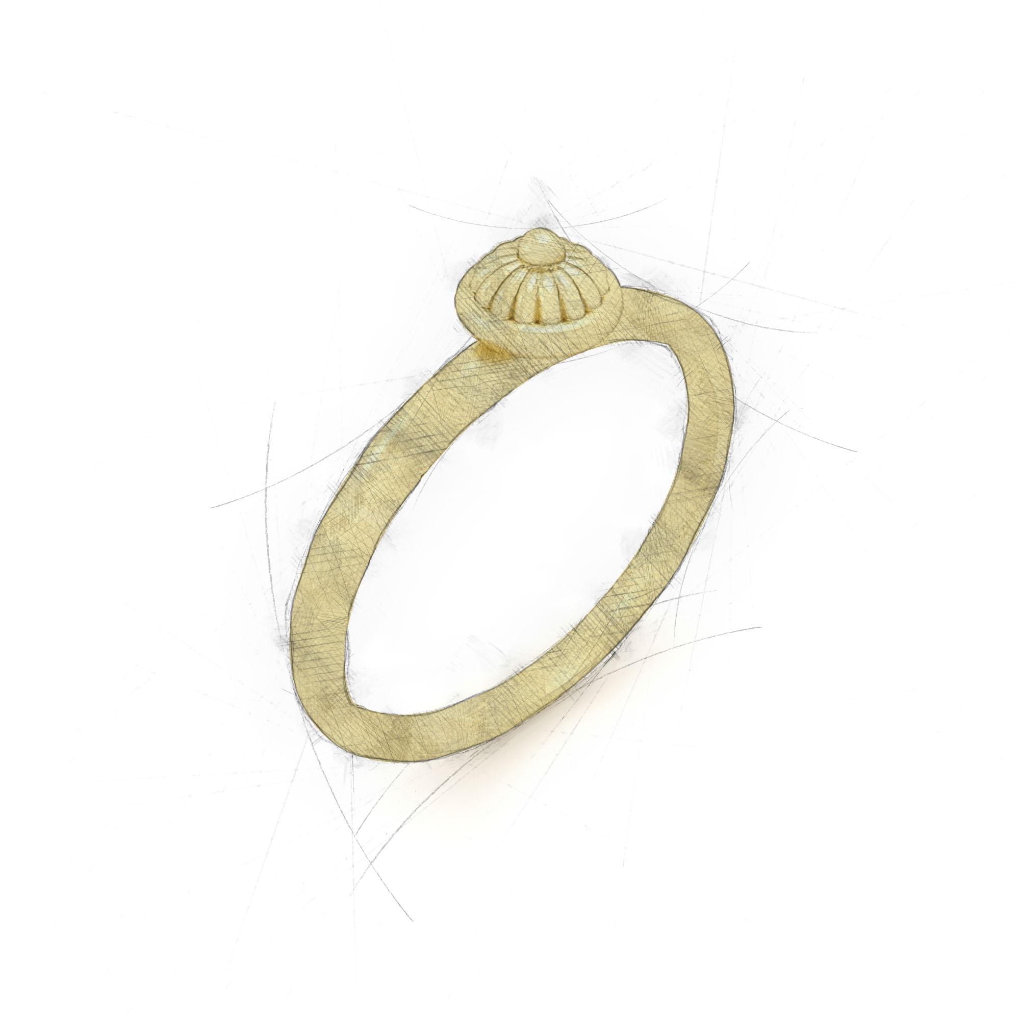Eleganter Ring mit Blütenkopf aus Waschgold von Filiotti