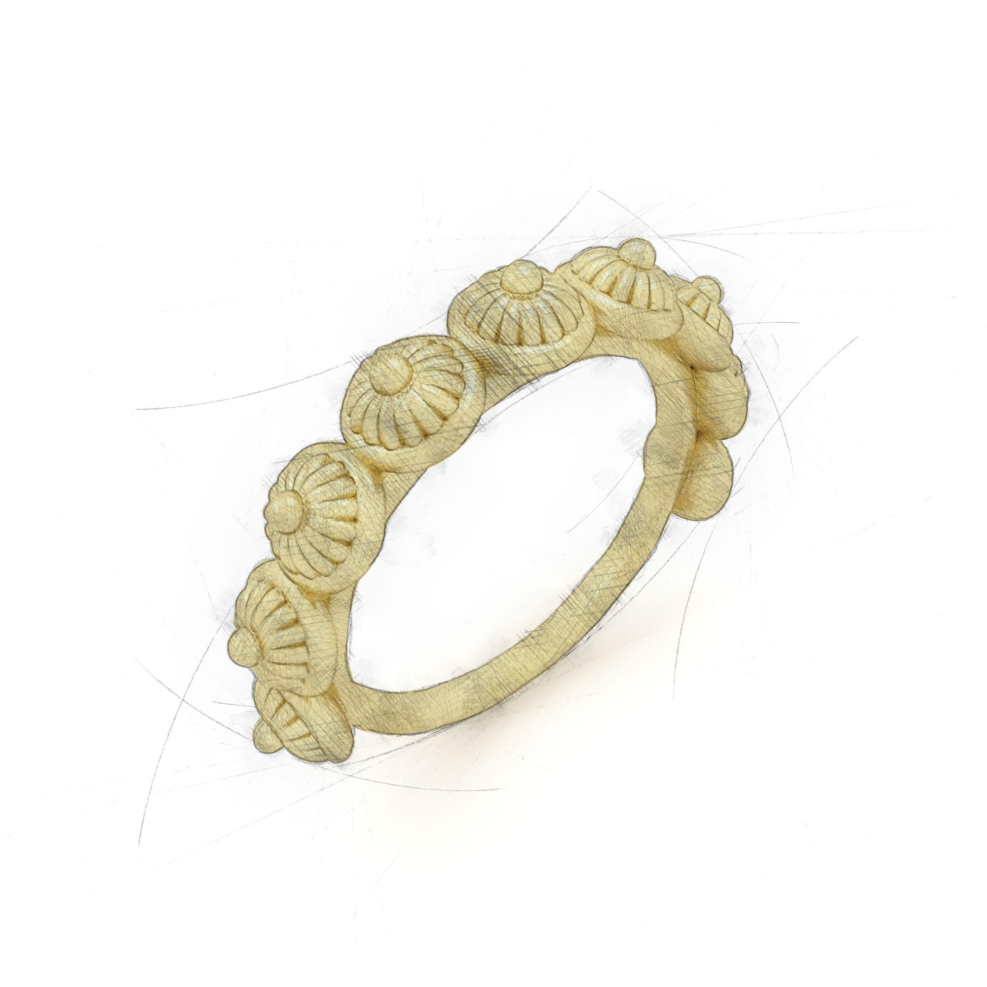 Eleganter Ring mit mehreren Blütenköpfen aus Waschgold von Filiotti