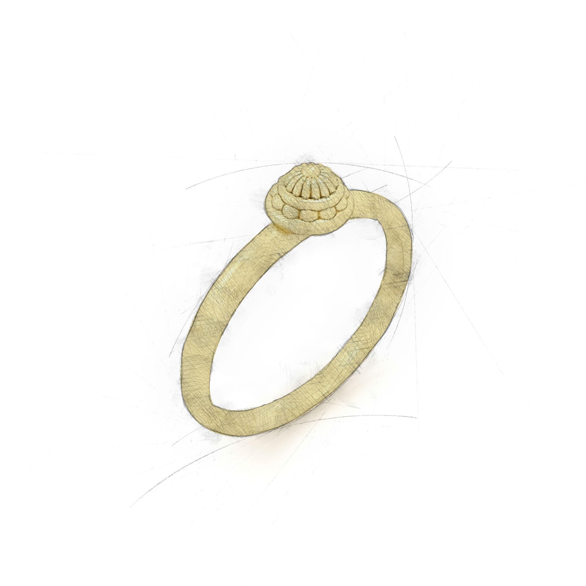 Filigraner Damenring aus Waschgold von Filiotti