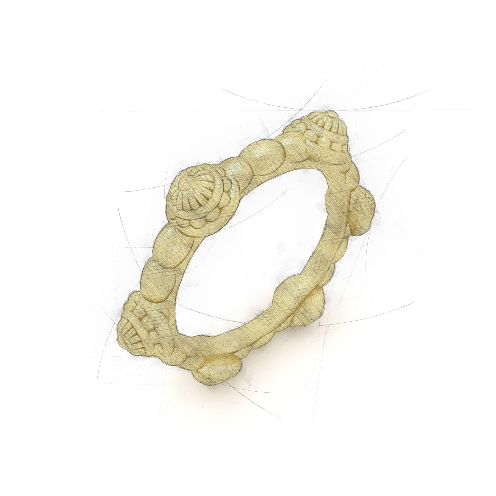Kräftiger Damenring aus Waschgold von Filiotti