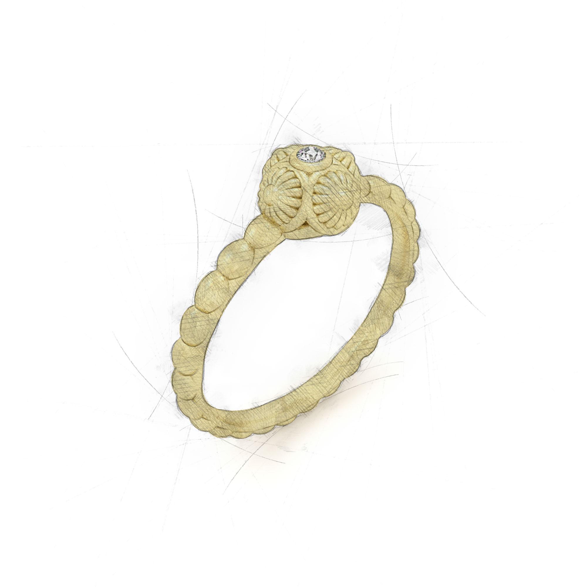 Einzigartiger Ring von Filiotti mit Brillant in der Fassung