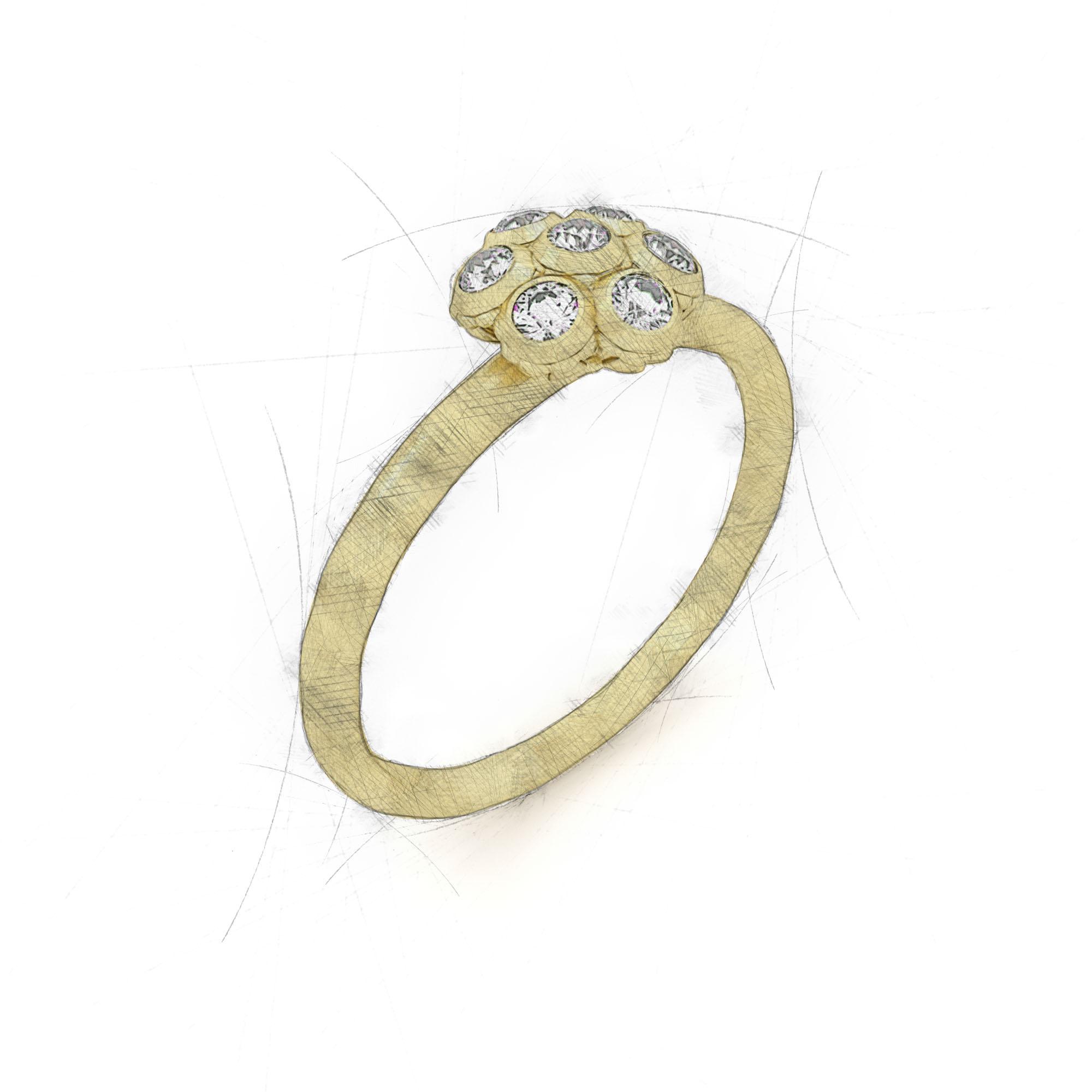 Ring von Filiotti mit einer Blume aus Brillanten