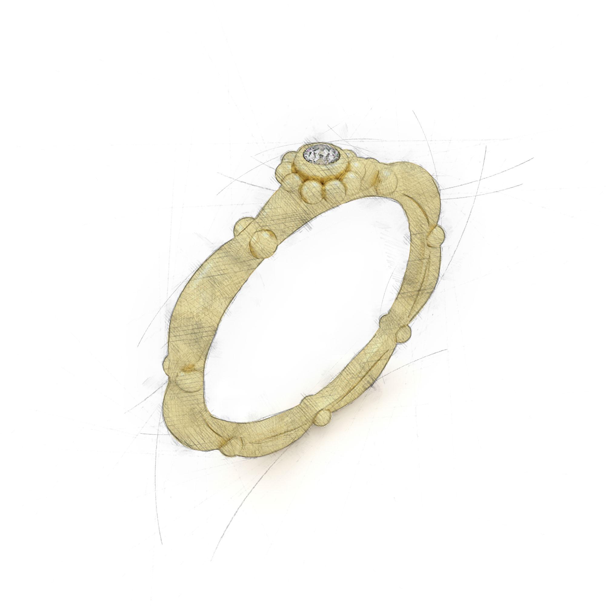 Zentraler Diamant in einem oval-kreisförmigen Damenring von Filiotti