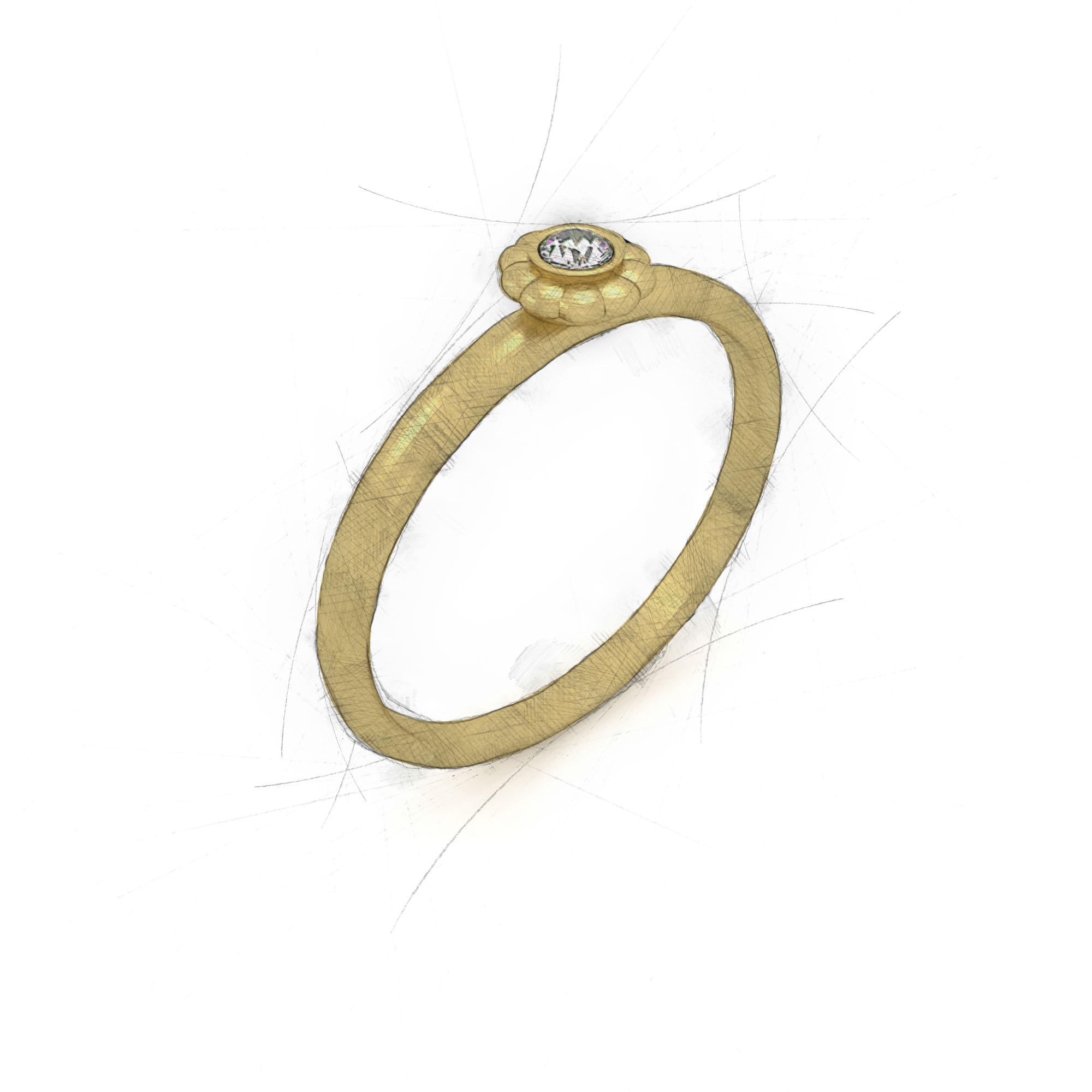 Ring mit Diamant aus Waschgold von Filiotti
