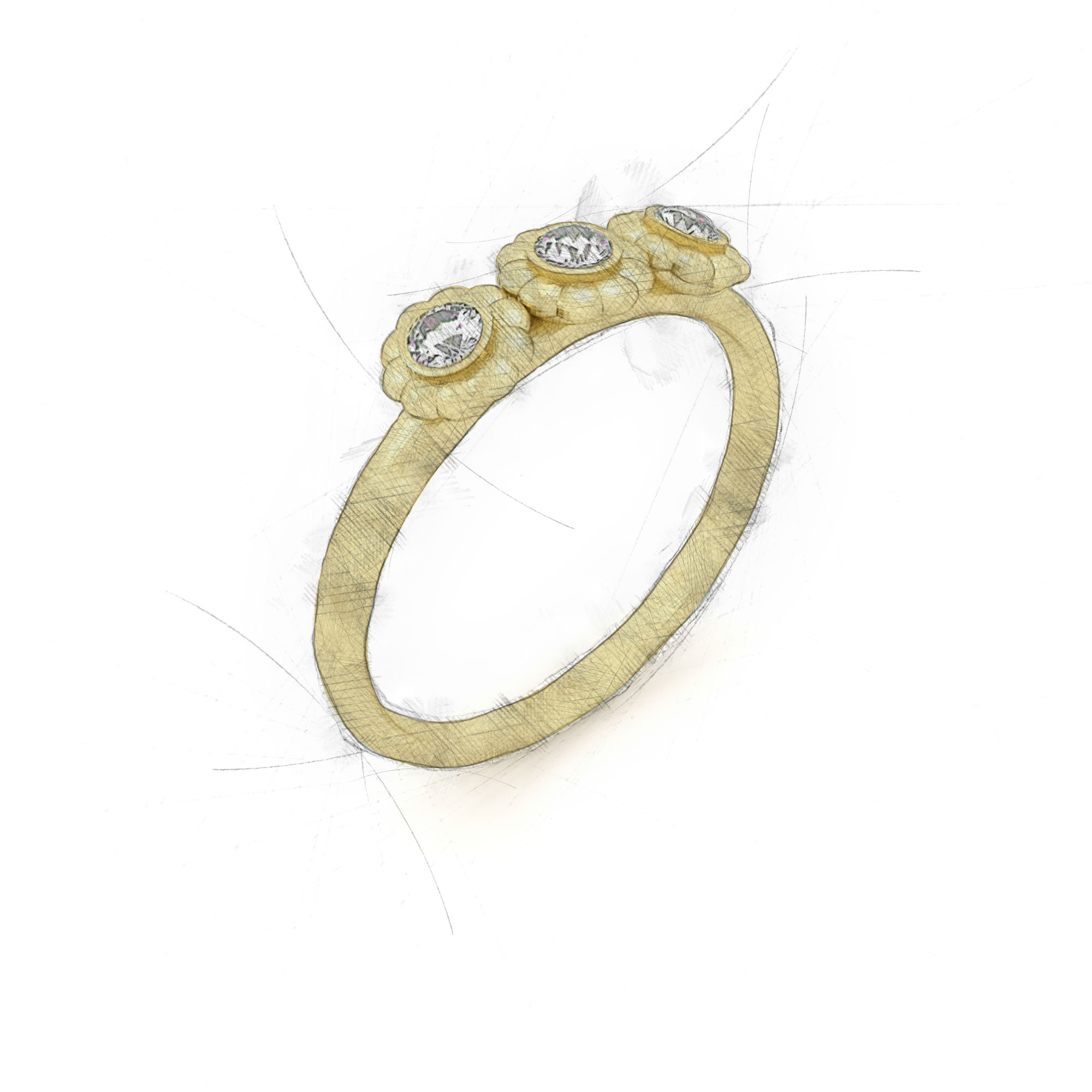 Ring mit drei Diamanten aus Waschgold von Filiotti