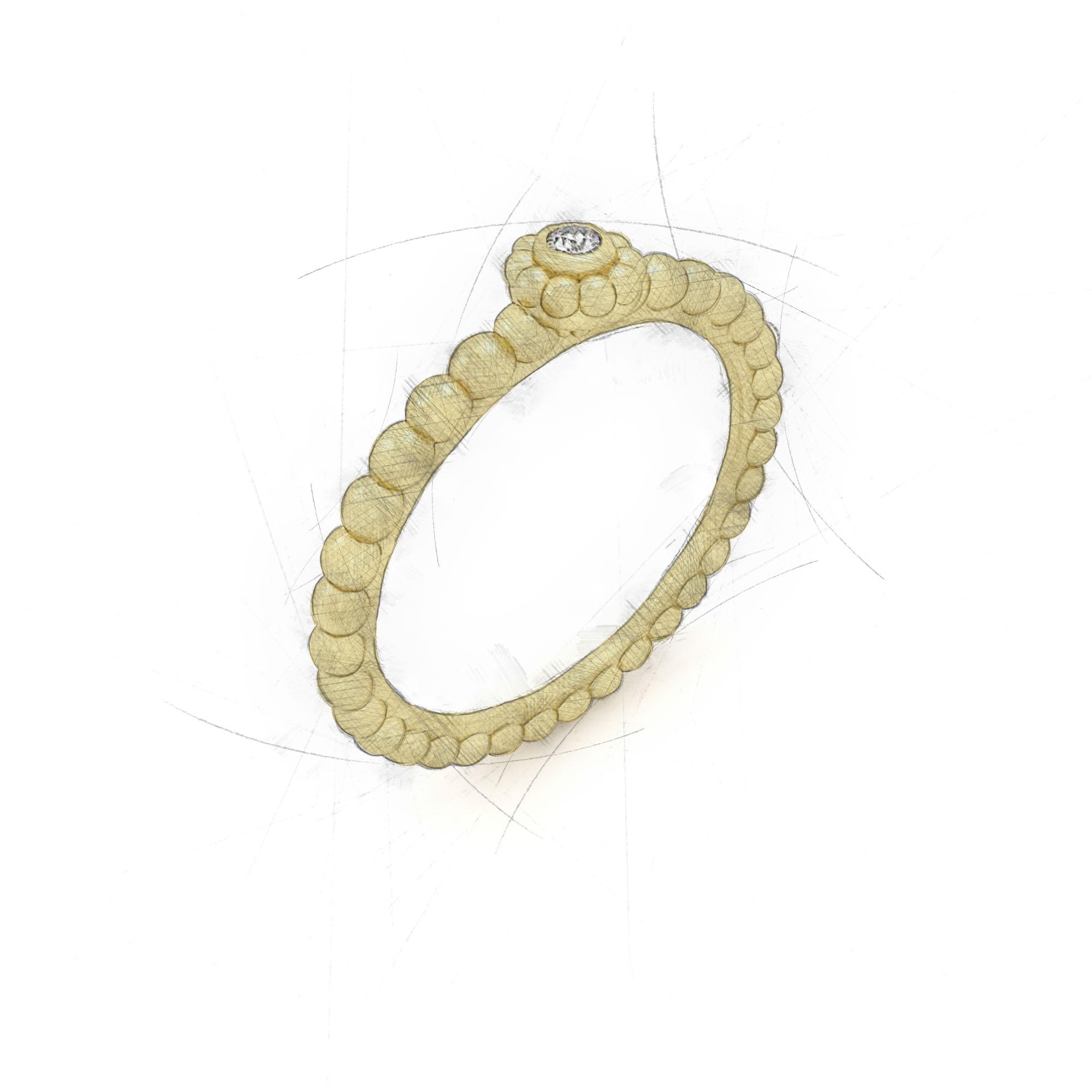 Kugelring mit Diamant von Filiotti