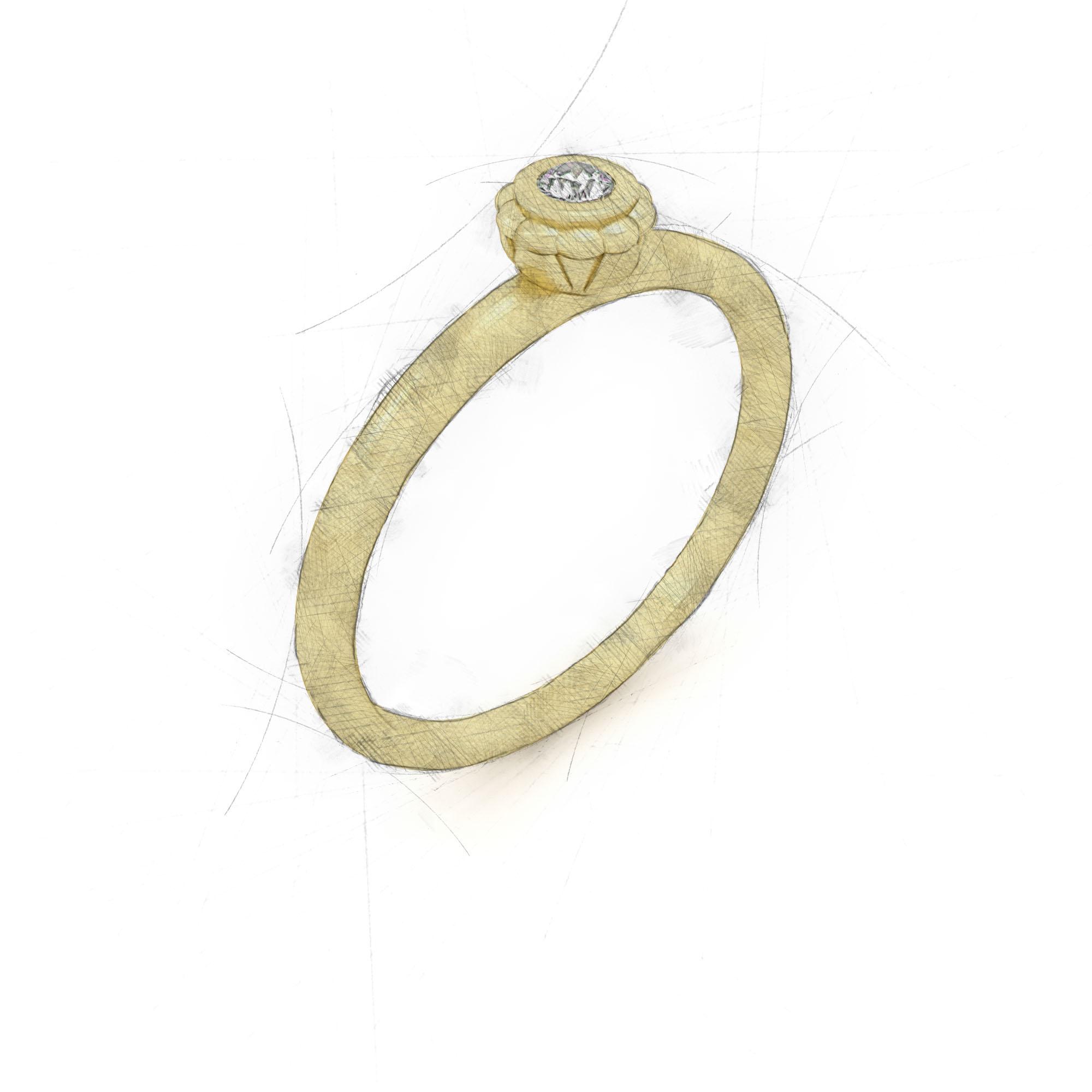 Eleganter Ring mit Diamant in einer Blume von Filiotti