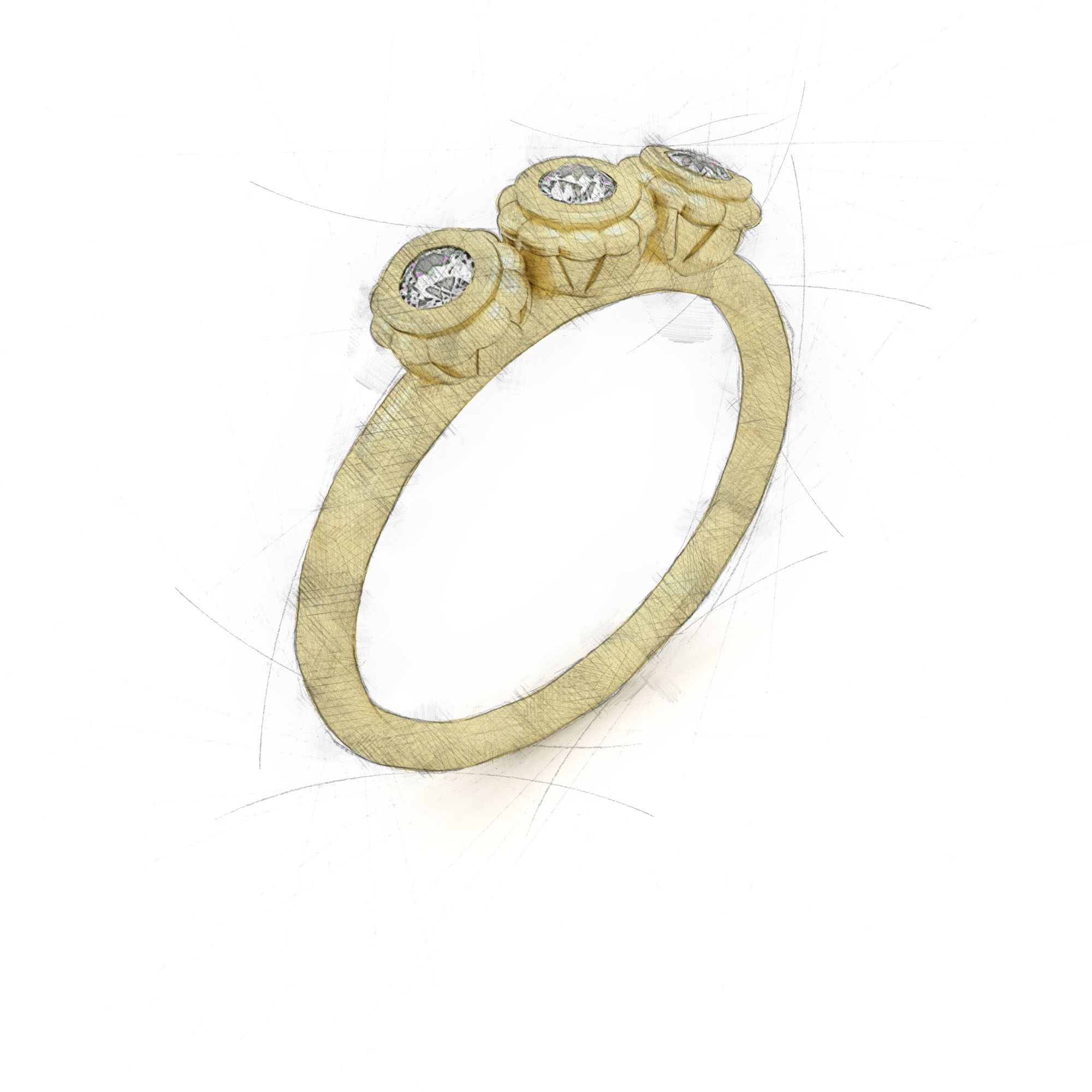 Eleganter Ring mit drei Brillanten in einer Blume von Filiotti