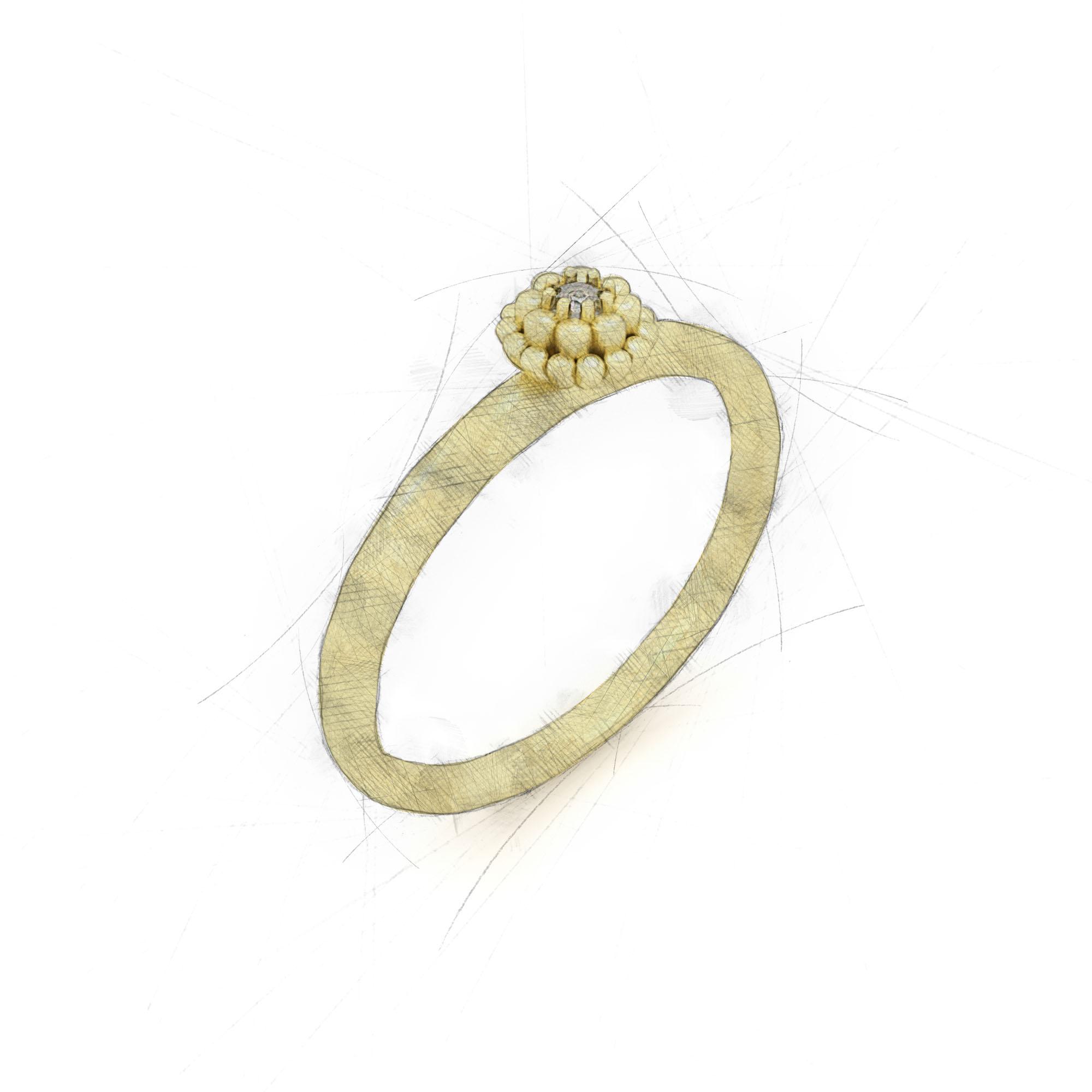 Eleganter Ring mit einem Brillant in einer Blüte von Filiotti